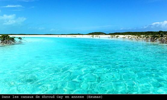 Un des canaux de Shroud Cay dans les Exumas