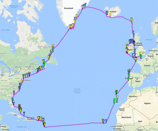 Boucle Atlantique du voilier OLEO sur google maps