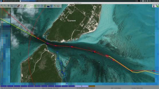 Franchissement d'une passe au Bahamas par le voilier OLEO